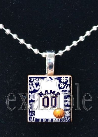BRONCOS BASKETBALL PERSONALIZED JERSEY Navy, White & Orange Team Mascot Pendant Charm Necklace