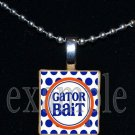 GATOR BAIT Blue & Orange Team Mascot Pendant Necklace or Keychain