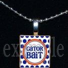 GATOR BAIT Blue & Orange Team Mascot Pendant Necklace or Keychain