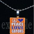 PEACE LOVE GATORS Blue & Orange Team Mascot Pendant Necklace or Keychain