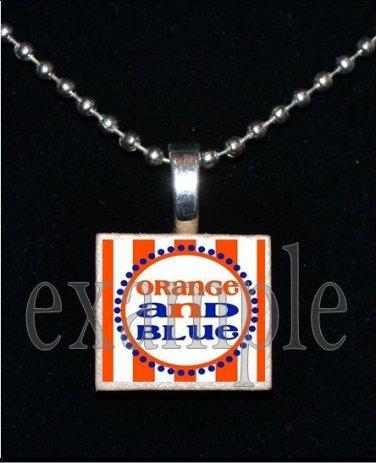 """ORANGE AND BLUE"" GATORS Blue & Orange Team Mascot Pendant Necklace or Keychain"
