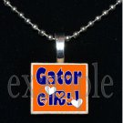 GATOR GIRL Blue & Orange Team Mascot Pendant Necklace Charm or Keychain