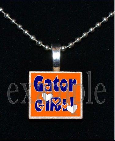 GATOR GIRL Blue & Orange Team Mascot Pendant Necklace Charm or Keychain