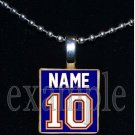 GATORS PERSONALIZED JERSEY Blue & Orange Team Mascot Pendant Necklace or Keychain