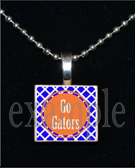 GO GATORS Blue & Orange Team Mascot Pendant Necklace Charm or Keychain