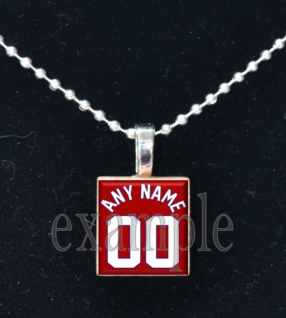 CARDINALS PERSONALIZED JERSEY Baseball Red, White & Blue Team Mascot Pendant Necklace or Keychain