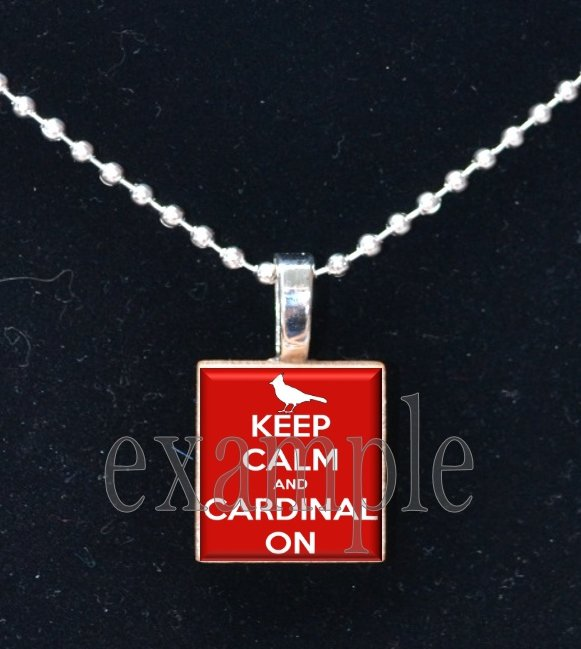 KEEP CALM AND GO CARDINALS Baseball Red, White & Blue Team Mascot Pendant Necklace or Keychain