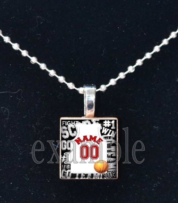 CARDINALS PERSONALIZED BASKETBALL JERSEY  Team Mascot Pendant Necklace or Keychain