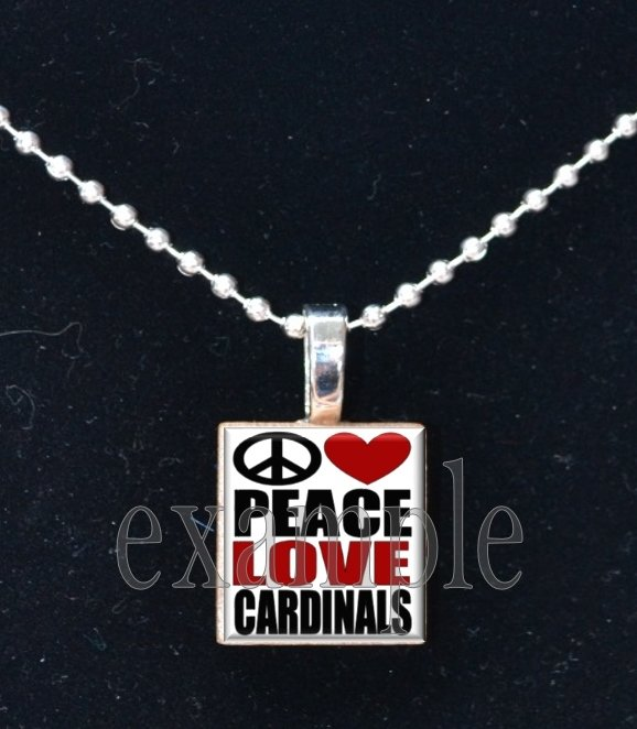 PEACE LOVE CARDINALS Red, White, Black & Yellow Team Mascot Pendant Necklace or Keychain