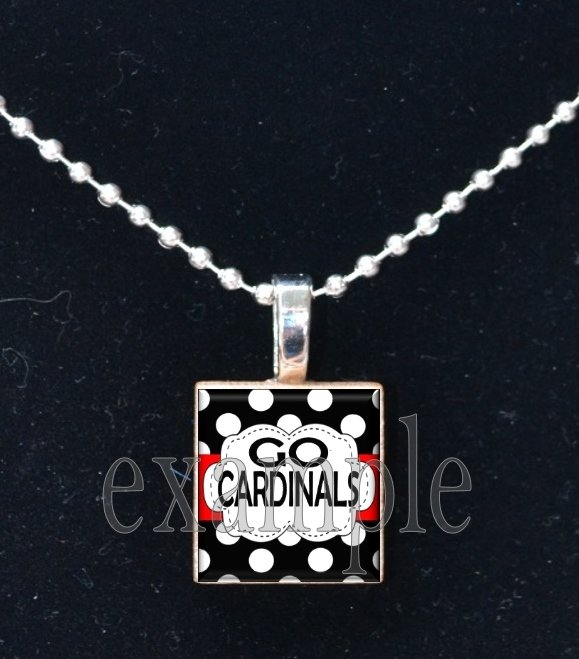 GO CARDINALS Red, White, Black & Yellow Team Mascot Pendant Necklace or Keychain