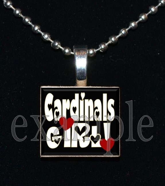 CARDINALS GIRL Red, White, Black & Yellow Team Mascot Pendant Necklace or Keychain