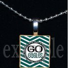 GO EAGLES Green, Black & Silver Team Mascot Pendant Necklace Charm or Keychain