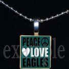 PEACE LOVE EAGLES Green, Black & Silver Team Mascot Pendant Necklace Charm or Keychain