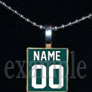 EAGLES Green, Black & Silver PERSONALIZED JERSEY Team Mascot Pendant Necklace or Keychain