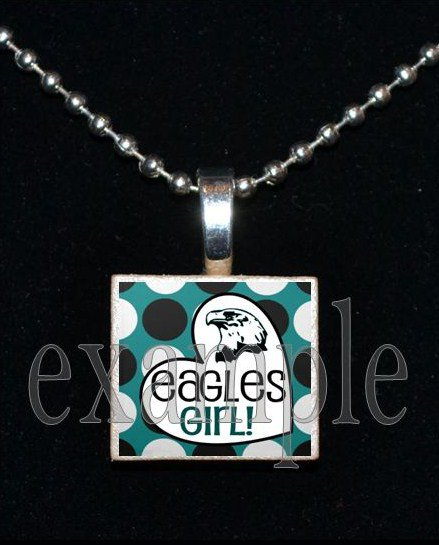EAGLES GIRL Green, Black & Silver Team Mascot Pendant Necklace Charm or Keychain