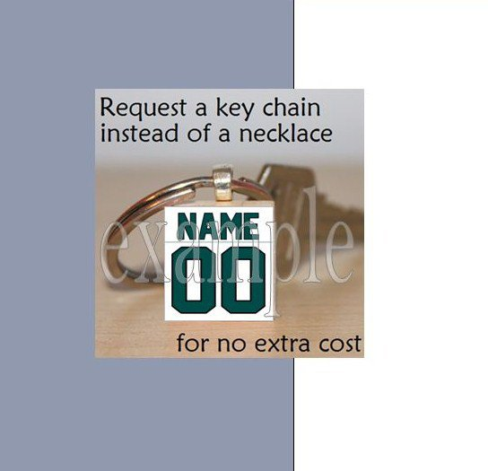 EAGLES Green, Black & Silver Team Mascot KEYCHAIN option