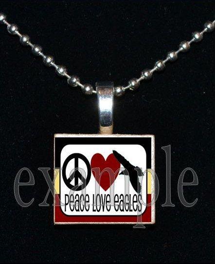 PEACE LOVE NICEVILLE HIGH SCHOOL EAGLES School Team Mascot Pendant Necklace Charm or Keychain