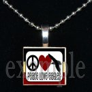 PEACE LOVE NICEVILLE HIGH SCHOOL EAGLES School Team Mascot Pendant Necklace Charm or Keychain