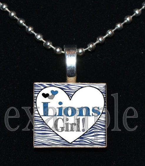 LIONS GIRL Blue, Silver, Black & White Team Mascot Pendant Necklace or Keychain