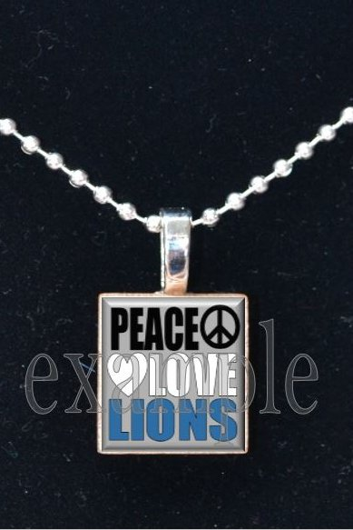 PEACE LOVE LIONS Blue, Silver, Black & White Team Mascot Pendant Necklace or Keychain