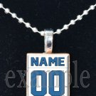 LIONS PERSONALIZED JERSEY Blue, Silver, Black & White Team Mascot Pendant Necklace or Keychain