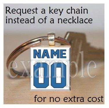 LIONS Blue, Silver, Black & White Team Mascot Keychain