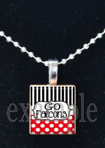 GO FALCONS Red, Black & White Team Mascot Pendant Necklace Charm or Keychain