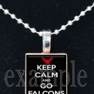 KEEP CALM AND GO FALCONS Red, Black & White Team Mascot Pendant Necklace or Keychain