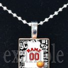 FALCONS PERSONALIZED BASKETBALL JERSEY Red, Black & White Team Mascot Pendant Necklace or Keychain