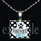 PANTHERS GIRL Black, Blue, Silver & White Team Mascot Pendant Necklace or Keychain