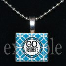 GO PANTHERS Black, Blue, Silver & White Team Mascot Pendant Necklace or Keychain