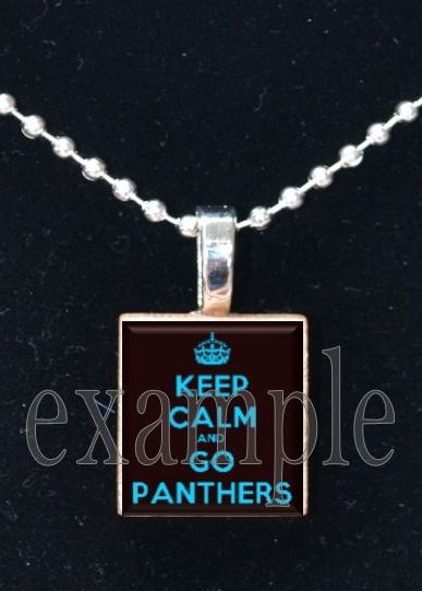 KEEP CALM AND GO PANTHERS Black, Blue, Silver & White Team Mascot Pendant Necklace or Keychain