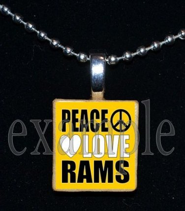 PEACE LOVE RUCKEL RAMS Team Mascot Pendant Necklace Charm or Keychain