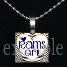 RAMS GIRL Blue, Gold & White Team Mascot Pendant Choices