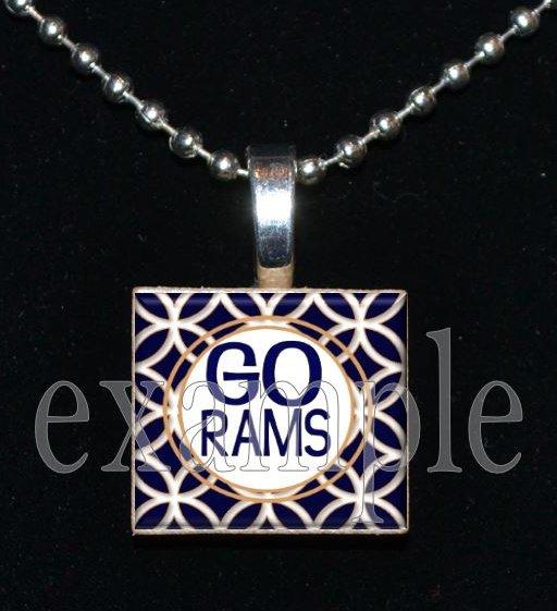 GO RAMS Blue, Gold & White Team Mascot Pendant Choices