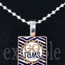 GO RAMS Blue, Gold & White Team Mascot Pendant Necklace or Keychain