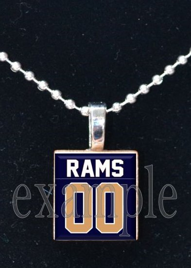 RAMS Blue, Gold & White Team Mascot PERSONALIZED JERSEY Pendant or Keychain