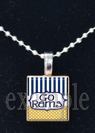 RAMS Blue, Gold & White Team Mascot Pendant Choices