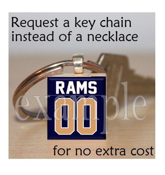 RAMS Blue, Gold & White Team Mascot Keychain