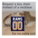 RAMS Blue, Gold & White Team Mascot Keychain