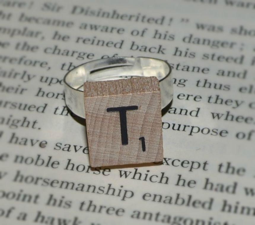 Initial Mini Natural Wood Scrabble Tile Ring