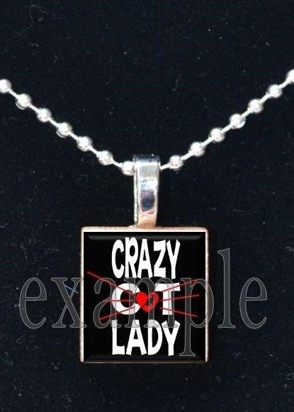 CRAZY CAT LADY Personalized Photo Custom Image Scrabble Necklace Charm Keychain