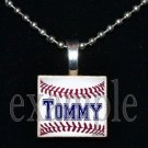 Personalized Custom Name BASEBALL Scrabble Tile Necklace Charm Key-chain Gift