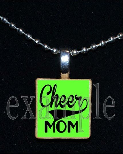 CHEER Mom Cheerleader Personalized Scrabble Necklace Pendant Charm Key-chain Gift