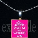KEEP CALM AND CHEER ON Cheerleader Personalized Scrabble Necklace Pendant Charm or Key-chain