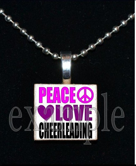 PEACE LOVE Cheer Cheerleader Personalized Scrabble Necklace Pendant Charm or Key-chain
