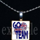 GO TEAM Cheer Cheerleader Personalized Scrabble Necklace Pendant Charm or Key-chain