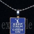 KEEP CALM & CHEER ON Cheer Cheerleader Scrabble Necklace Pendant Charm or Key-chain