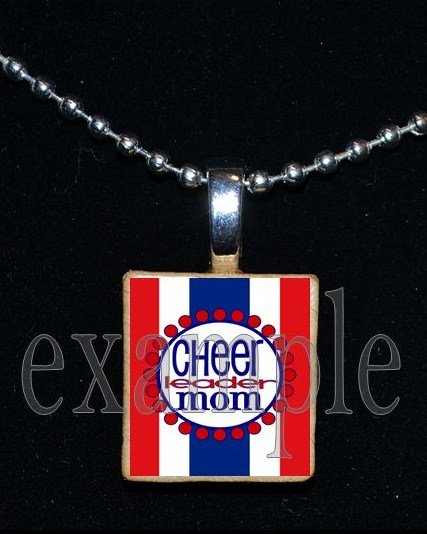 Cheer Cheerleader MOM Personalized Scrabble Necklace Pendant Charm or Key-chain