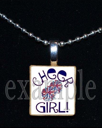 Cheer Cheerleader GIRL Scrabble Necklace Pendant Charm or Key-chain